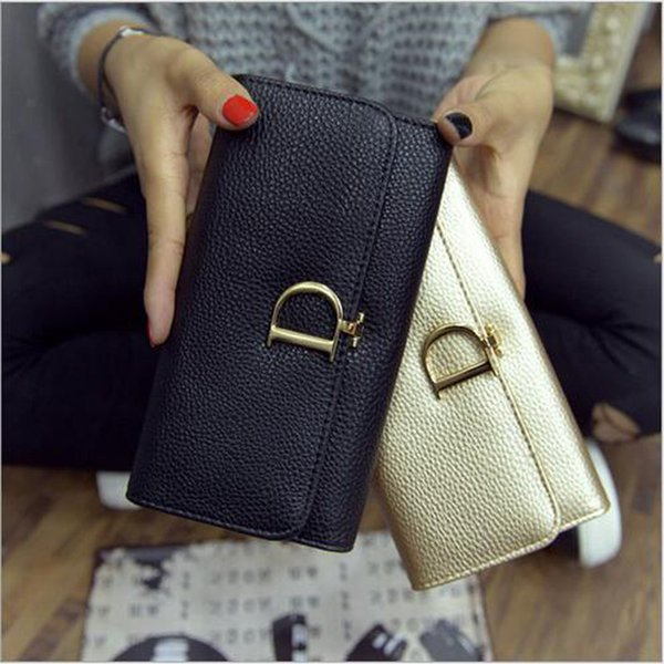 New Arrival Litchi Pattern Women's Wallets Cover type D Buckle Long Pencil Box Purse Elegant Multi Use Mobile Phone Wallet