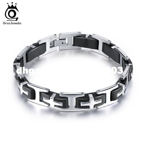 ORSA GIOIELLI Black Silicon Tension Mount Design Bracciale in acciaio inossidabile per le donne Gioielli moda Trendy GTB15