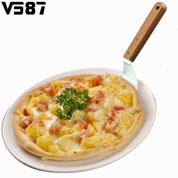 Atacado-Aço Inoxidável Pizza Plana Espátula Peel Shovel Turner Bolo Lifter Plate Holder Pastelaria Pá Cutter Knife Ferramentas De Cozimento Gadgets