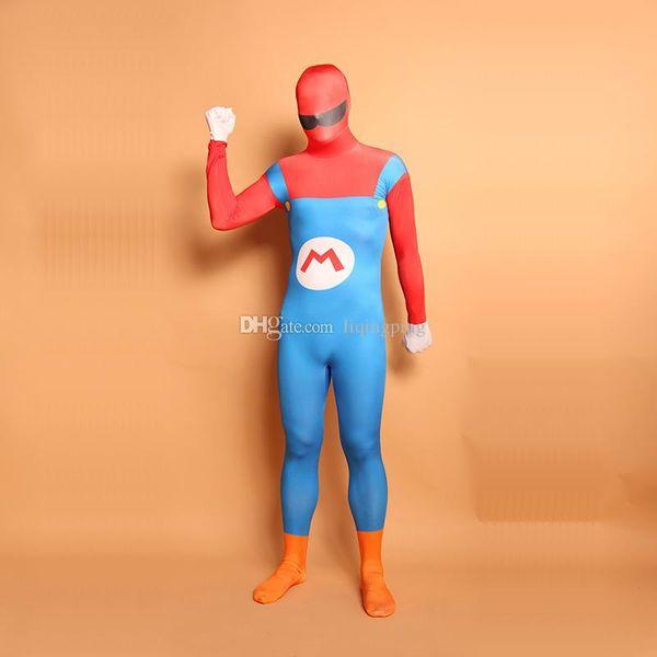 Mulitcolor Super Mario Cosplay Costumes Halloween Unitard Lycra Spandex Full Body Zentai Catsuit For Women