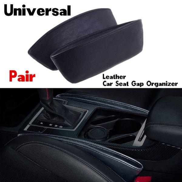Leather Auto Car Seat Gap Pocket Organizer Leak-Proof Storage Box Bag Container