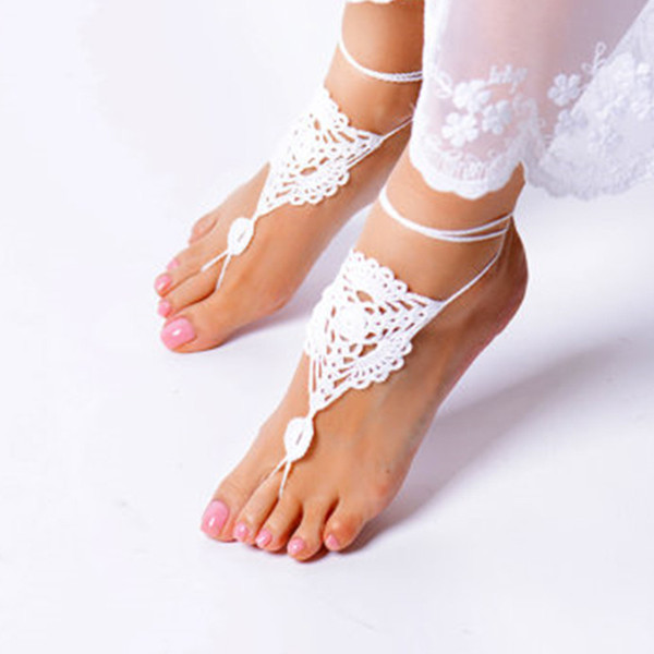 Handmade Summer shoes, Crochet White Barefoot Sandals, Foot jewelry, Bridesmaid accessory,sexy Anklet, Wedding shoes, Beach Wedding shoes 01