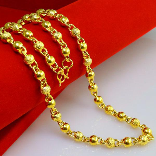 Pure 999 Chains of gold bead chain beads wedding Design Moire best men women 24k Yellow gold plated necklace pendant Brass Wild