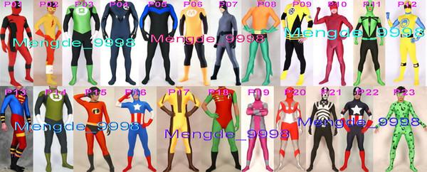 New 22 Style Superhero Costumes Unisex Deadpool Flash Lantern Cat Spawn Dragonfly Superman Incredibles Captain Ultraman Suit Costumes M156