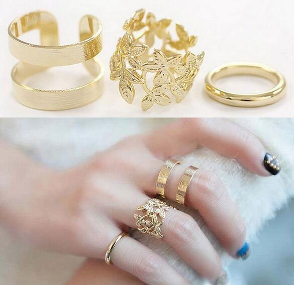 3PCS/SET Fashion leaves three-piece sets of metal joints ring female authentic ring wholesale free shipping