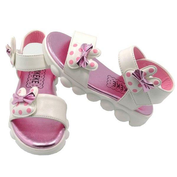 Girls Sandals Cute Bowknot YXKEKE Brand PU Leather Round Toe Kids Shoes for Girls White and Pink
