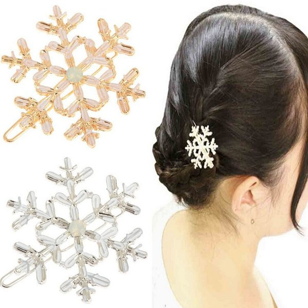 Women Girls Snowflake Hair Clips Hair Accessories Silver Gold Snowflake Hairclip Hairpin Hair Cuff Clip Jewelry Wholesale 12Pcs