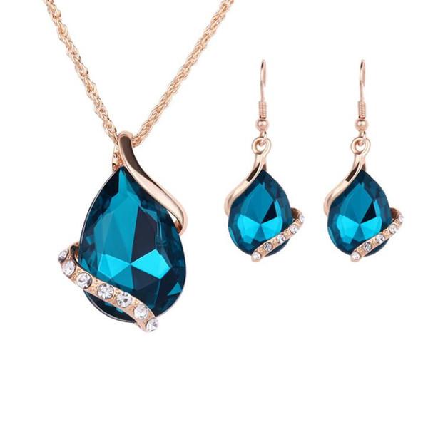 Fashion Big Rhinestone Crystal Costume Bridal Wedding Jewelry Sets For Women Romantic jewelry accessories 5 colors
