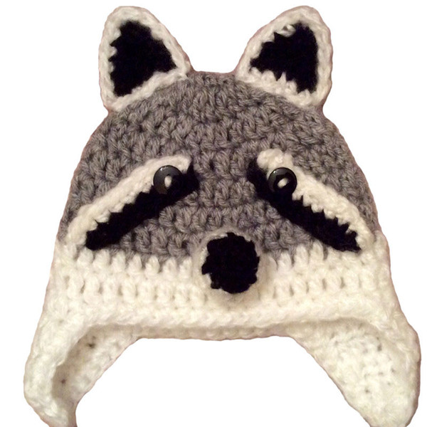 Novelty Wolf Baby Hat,Handmade Knit Crochet Baby Boy Girl Big Wolf Animal Hat,Kids Earflap Cap,Halloween Costume,Infant Toddler Photo Prop