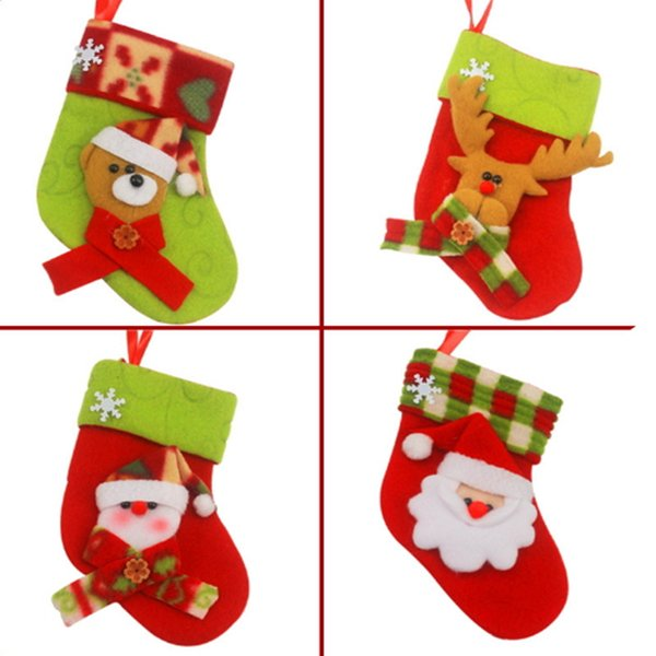 Christmas Stockings Christmas Tree Hanging Ornament Decoration Gift Bags Santa Claus Candy Sock Merry Snowman Reindeer Festival Supplies