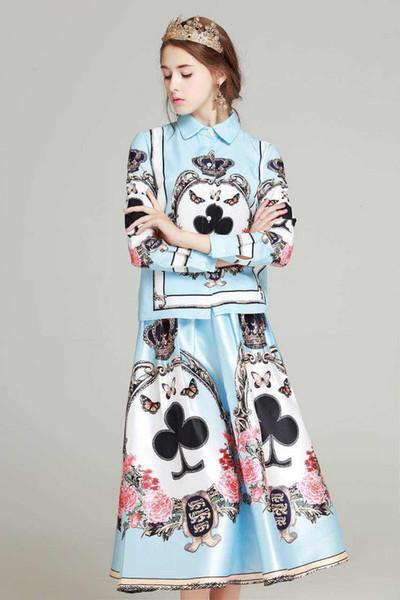 2018 Sea Blue Poker Estampado de manga larga Camisas y faldas de las mujeres de gama alta Celebrity Style 2 piezas Conjuntos de mujeres DH56