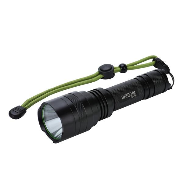 Lampe torche à DEL de 2 000 lumens ultra-brillante avec interrupteur pour bouton arrière contrôlée par 5 modes, noir (sans pile)