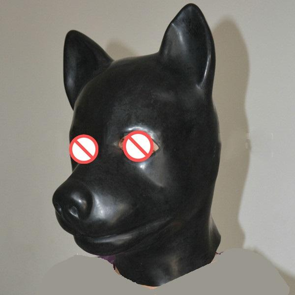 Hot sex product New male female 100% natural latex bondage dog head mask eyepatch gagged headgear hood adult BDSM toy bed game set