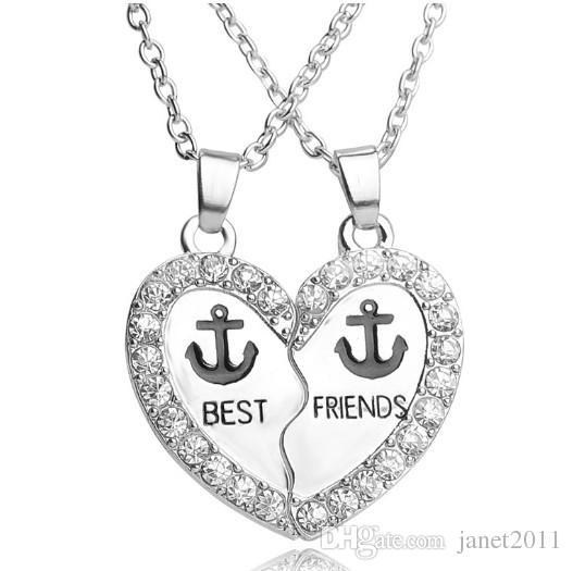 Best Friends Anchor Necklace Set Silver Plated Rhinestone Embellished Necklaces Gift Idea Unique Jewelry Chokers Necklaces