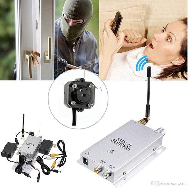 Mini telecamera wireless Night Vision Mini telecamera a foro stenopeico Telecamera per telecamere di sicurezza domestica CC con telecamere a 1.2 GHz