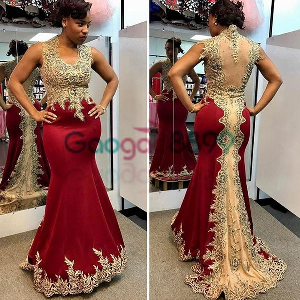 Sexy Dark Red Mermaid Prom Formal Dresses 2017 Gold Applique Beaded Fishtail Sexy African Occasion Evening Party Dress