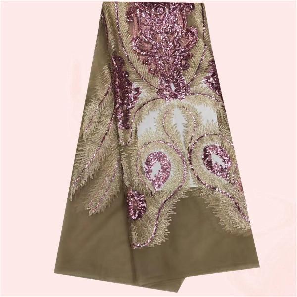 Últimas prendas de vestir tela de tul africano tela de encaje neto francés con lentejuelas shinning GN91 (5 yardas / porción) de varios colores