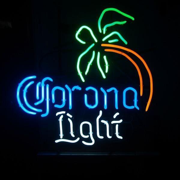 "Corona Light Palm Tree Neon Sign Handcrafted Custom Real Glass Beer Bar KTV Club Pub Store Motel Advertising Display Neon Signs 14""X17"""