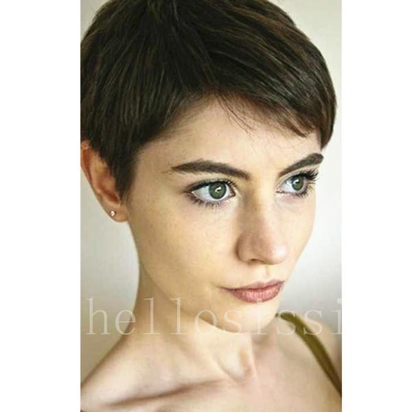 Großhandel 2017 Promi Kurze Bob Haar Perücken Brasilianisches Haar Super Kurze Gerade Perücken Günstige Menschenhaar Perücken Mit Bang Von Hellosissi