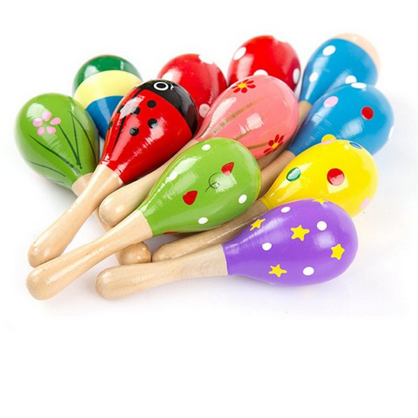 HOT 50pcs Baby Wooden Toy Rattle Baby cute Rattle toys Orff musical instruments Educational Toys baby Sand ball sand hammer 12-20cm