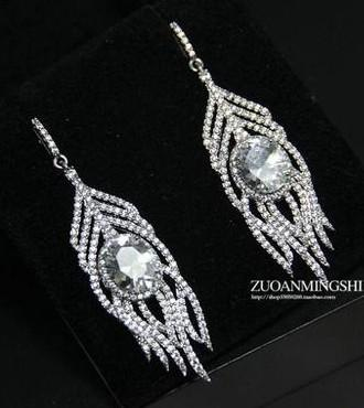 colorful High quality diamondl crystal l zircon leaves 925 silver lady's Earrining 7i7y
