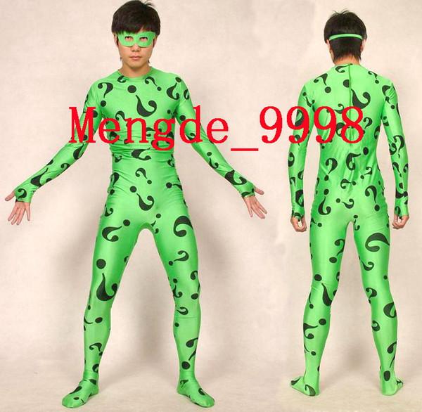 Yeni Lycra Spandex Zentai Yeşil Riddler Vücut Suit Catsuit Kostümleri Unisex Süper Kahraman Kostümleri Kıyafet Cadılar Bayramı Fantezi Elbise ...