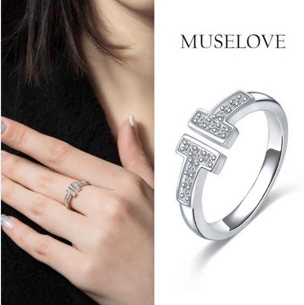 2017 New Arrival Top quality 316L stainless steel 18KGold/Rose Gold/Silver love Double T Ring for women set with crystal