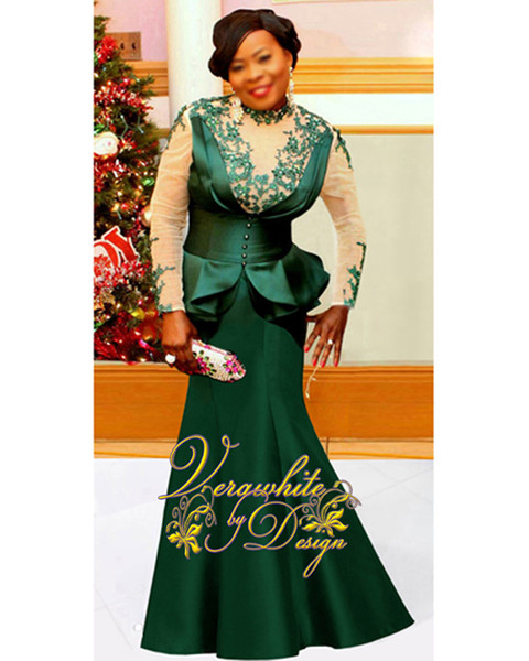 Plus Size Long Sleeves Evening Dresses 2017 Mermaid High Neck Emerald Satin with Appliques Zipper Back Floor-Length Party Gowns Custom Made