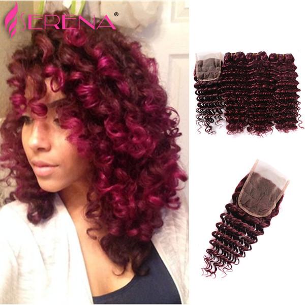 Burgundy Virgin Brazilian Human Hair Weaving 3Pcs Tight Deep Curly Wine Red Hair Weave 99J Kinky Curl Hair Bundle