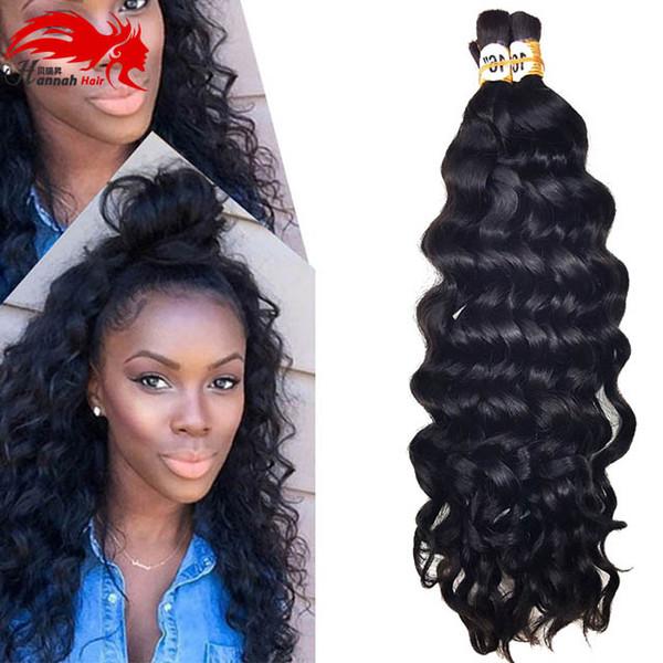 best selling Mongolian Afro Deep Curly Wave Human Braiding Hair Bulk 3Pcs 150gram Human Remy Hair For Braiding Bulk No Attachment Hannah product
