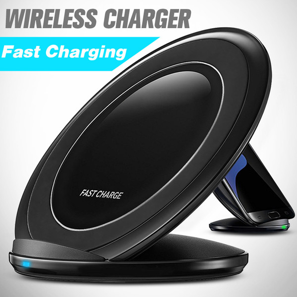 top popular Fast Wireless Charger For Galaxy S8 Plus Quick Charger Desktop Charger With Stand Holder For Samsung S7 S8 With Retail Package 2020