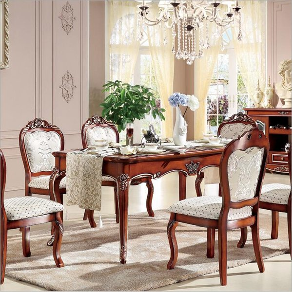 Antique Style Italian Dining Table, 100% Solid Wood Italy Style Luxury marble Dining Table Set p10241