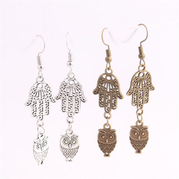 12pcs/lot Metal Alloy Zinc Hamsa Hand Connector Animal Owl Pendant Charm Drop Earing Diy Jewelry Making C0720