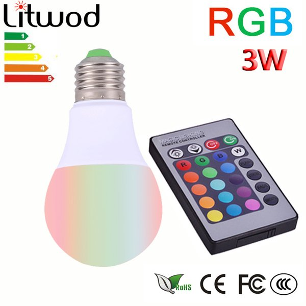 Litwod Plastic aluminum E27 LED RGB Magic Lamp Lamp 3W AC85-265V 220V RGB Led Light Spotlight+ Ir-afstandsbediening controle