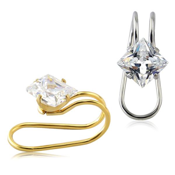 Ultimamente Disnger Oro / Argento Cuff Ear Wrap CZ Crystal Cartilage Clip Orecchino 7mm Ipoallergenico Ear Clip Gioielli per il corpo
