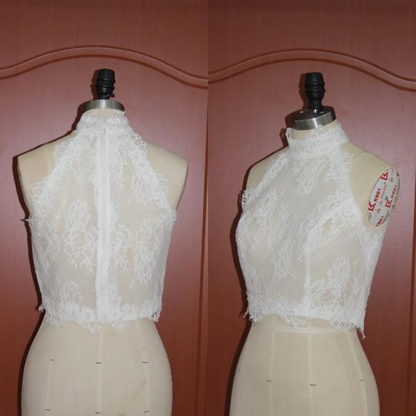 Romantic Lace Real Picture High Neck Bolero Jacket Wedding Evening Bridal Jackets Sleeveless Sheer Vest Wraps Shrugs Custom Free Shipping