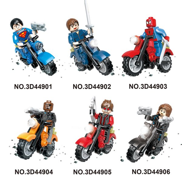 high quality Mini figures motorcycle super man/ninjial/spiderman/ Building Blocks Baby Brick toy Kids Gift from shenzhen free shipping