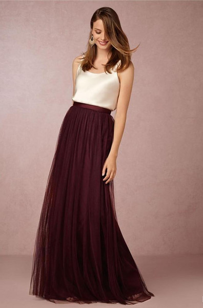 best selling Summer Style Pleats Soft Tulle Long Skirts High Waist Pleats Tulle 3 Layers Tulle one Layer Sage Gray  burgundy Champagne