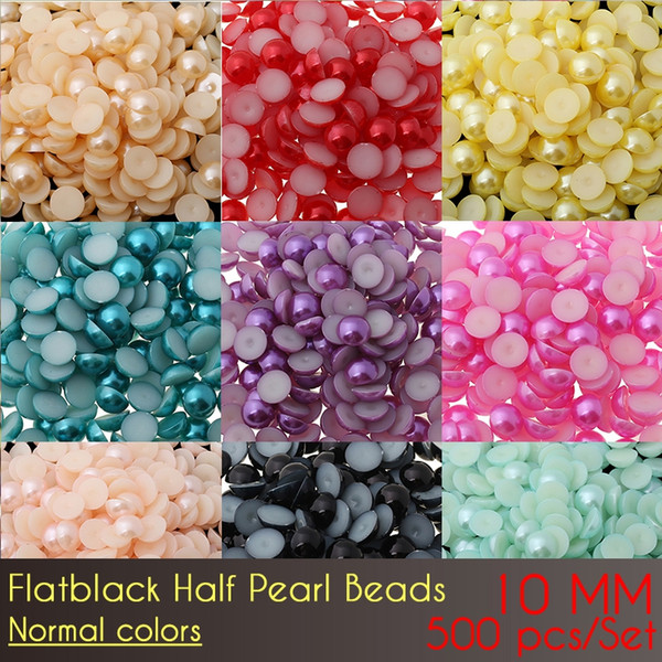 Imitation Pearls Half Round Flatback Beads For DIY Decoration ABS Flat Back Half Pearl Beads 10mm Normal Color 500pcs/Set