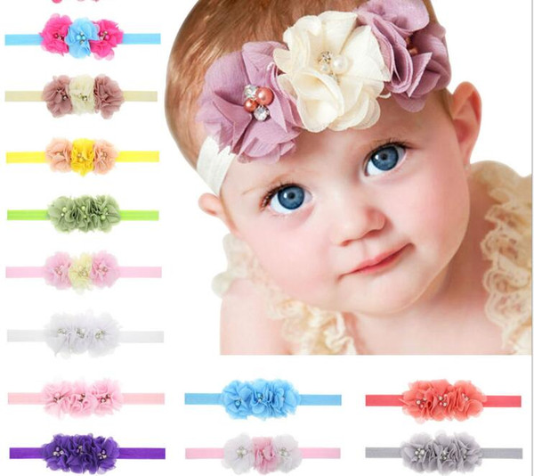 Crianças floral Acessórios Para o Cabelo por atacado Chiffon headwer para meninas recém-nascidas Strass Fita Pérola Hairbands de costura 3 Flores em Y-30