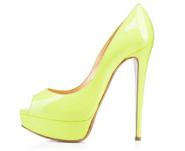 Zandina Womens Fashion Sexy Handmade High Heel Peep Toe Platform Multicoloured Stiletto Slide Bridal Pumps Shoes Lemon