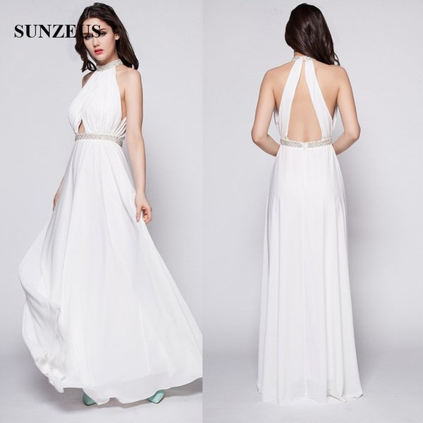 Beaded High Neck Long White Prom Dresses Sexy Back Chiffon Party Gowns Real Photos Free Shipping
