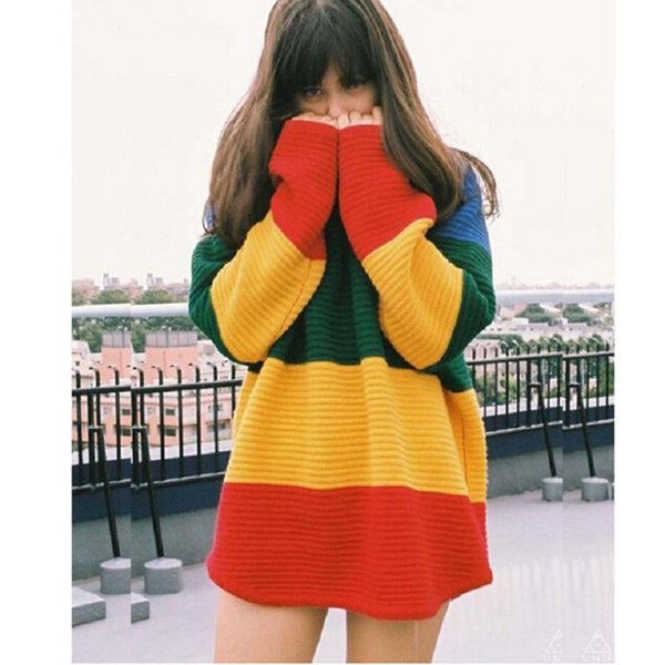 Wholesale-Autumn Winter Casual 2016 Knitted Pullovers Patchwork Rainbow Sweater Women Oversized Sweaters And Pullovers Christmas Sweater