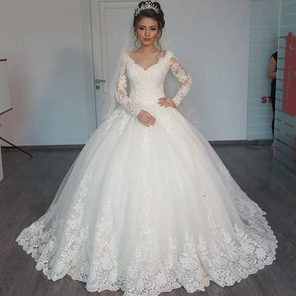 Großhandel Vintage Ballkleid Brautkleider Mit Langen Ärmeln Spitze ...