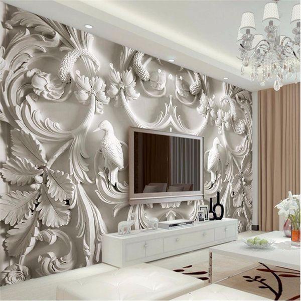Acheter Peinture Moderne Fond Salon Photographie Fleurs Hd Embossé Hôtel Murale Mur Papier Peint Badroom Effets Visuels 3d De 26 62 Du Brendin