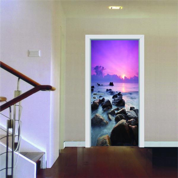 77x200cm 2pcs / set Creativo 3D Sea View Modern semplice soggiorno wall sticker porta decorazione Sticker murale foto Wallpaper