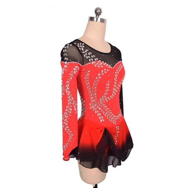 Fashion Style Leaves Liste con motivo Little Queen's Competition Dress Skating Long Sleeves Design professionale Dancing Dress Nuovo marchio