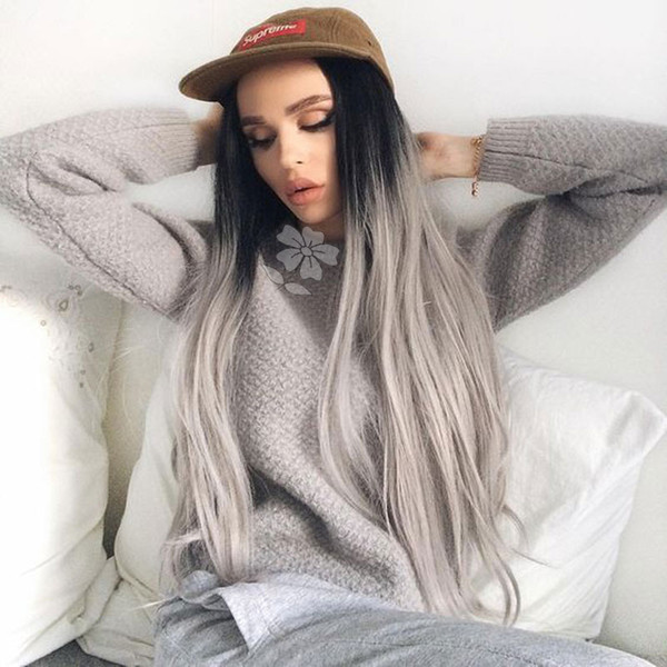 Ombre Grey Wigs Two Tone Natural Black Ombre Grey Synthetic Lace Front Wigs Long Natural Straight Heat Resistant Hair Wig For Fashion Women