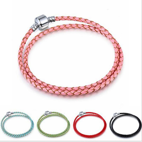 10pcs/lot Real Leather Snake Chain 3mm Copper stamped Clip Bracelet Fit European Charms beads DIY Jewllery Making 34cm - 42cm