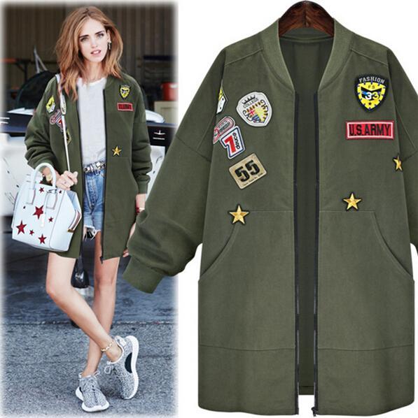 2017 Otoño Más El Tamaño XL- 5XL Mujeres Insignias Militares Bomber Chaqueta Abrigos Largos Verde Del Ejército Oversize Casual prendas de vestir exteriores señoras chaquetas Trinchera